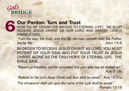 Our pardon: turn and trust